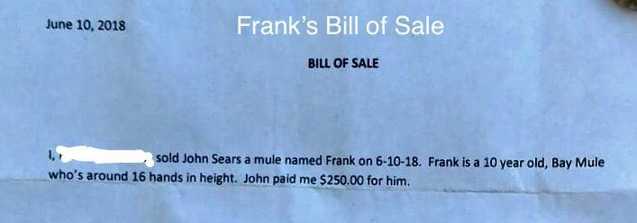 Frank Expense - Bill of Sale