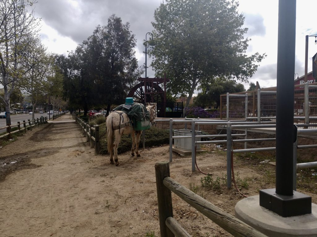 Horse corral with water trough in downtown Norco