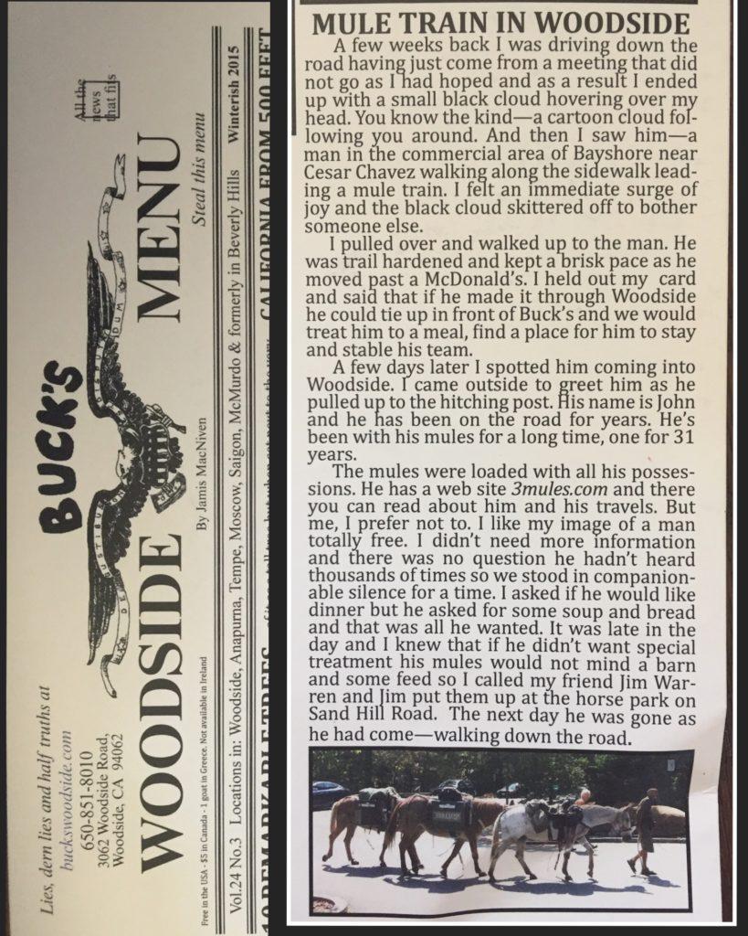 Buck's Woodside Menu