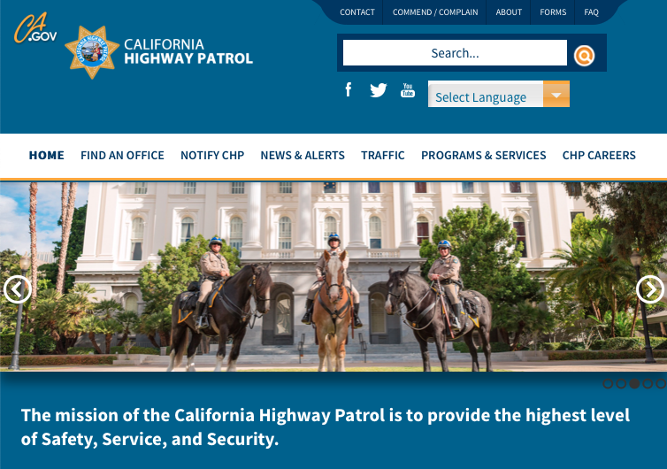 California Highway Patrol website with horses on the cover