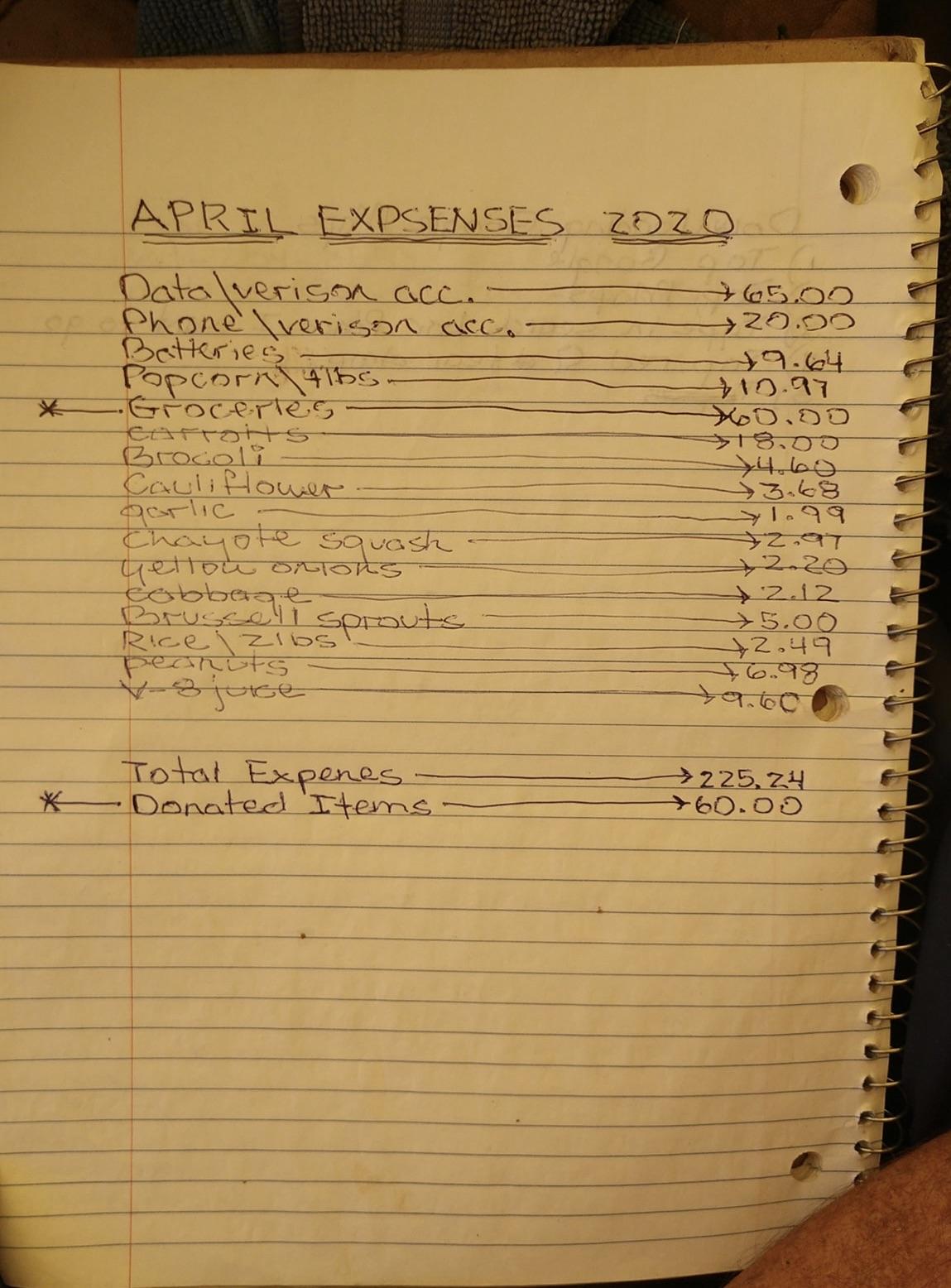 April 2020 Expenses $225.24