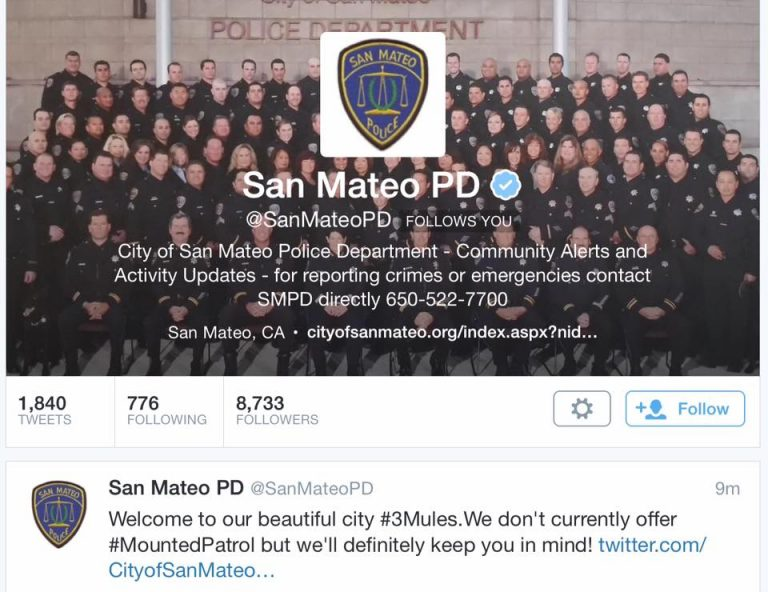 San Mateo Police post welcoming the mules in 2015